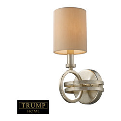 "Elk Lighting - New York 1-Light Sconce in Renaissance Silver - Taking styling cues from the art deco period, the Trump Home New York Collection features clean lines and unique design elements. The lights are supported by rings that gracefully �float"" around a larger double ring. Finished in renaissance silver leaf with cream fabric shades, this series is versatile and contemporary. Shades are optional on items with crystal."