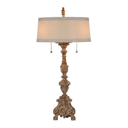 Kathy Kuo Home - Pair Grayson Gilded European Classic Candlestick Table Lamp - We took our gilded inspired candlestick and turned it into a lamp with a narrow horizontal shade. The base is heavily distressed revealing the gesso and natural wood underneath. It is very aged and looks very old.  Price marked is for a pair.