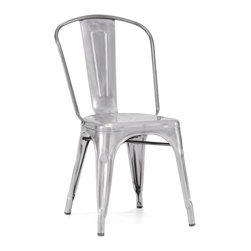 Design Lab MN - Amalfi Stackable Vintage Side Chair Set of 4, Galvanized - The amalfi steel stackable side chair is a fantastic designed chair to add to any restaurant, bistro or coffee house. This chair is produced in galvanized rolled steel which can withstand any high traffic area. It also can be stacked to save space if needed. Produced by Design Lab MN, this product is manufacturer to highest standards in the furniture industry.