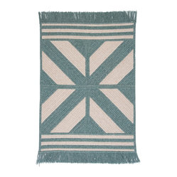 Colonial Mills, Inc. - Sedona, Teal Rug, 5'X8' - A bold, graphic addition to any room, this fringed rug is fabricated from braided polyester and wool for an extra touch of warmth. Made in an old New England mill town, this reversible braided design will be a welcome accent to any room.