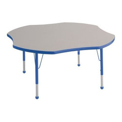 ECR4KIDS Clover Adjustable Activity Table - Fun and functional the unique shape of the Early Childhood Resources Clover Adjustable Activity Table adds extra room on the corners and smooth curves in the seating area. Because of this smart clover design children with shorter arms should be able to reach art supplies and learning materials in the center of the table without disturbing their neighbors. This table will comfortably seat up to 4 children. This durable table is made with thick recycled particleboard and is laminated on both sides which provides a stain-resistant and easy-to-clean surface. The corners are rounded for safety and the smooth edge banding is available in your choice of popular kid-friendly colors. This safe non-toxic table will not fade or discolor. The adjustable metal legs are powder-coated on top and chrome-plated on the bottom with matching ball glides for feet. The table can also be adjusted in height to fit children of a specific age or grade. The table adjusts 15-23 inches high or adjusts 19-30 inches high. Both table options carry a seven-year manufacturer's warranty. Chairs are sold separately. Adult assembly is required. Tabletop Details: Gray laminate tabletop is laminated on both sides and measures 1.125 inches thick. Table substructure is made from medium-density particleboard that is at least 90% recycled (minimum 4% post-consumer balance pre-consumer). Bright color banding is available in a variety of popular classroom colors. Color banding grips into the tabletop edges and is pinned in place every 6-8 inches with recessed nails to ensure that the banding remains firmly in place. Color banding is made from PET and contains no phthalates. Rounded corners for extra safety. EPP certified CARB compliant and may contribute to U.S. Green Building Council's LEED™ Credits MR 4.1 and 4.2. Leg Details: Durable powder-coated paint on upper leg. Color matches the banding. Chrome-plated adjustable lower leg insert. Legs are adjustable in 1-inch increments Threaded adjustment holes in lower leg keep legs securely in place. Color-coordinated polypropylene ball glides. Pre-installed brackets and pre-drilled screw holes make leg mount installation and alignment easy. Available in 2 sizes: Toddler table measures 48L x 48W x 15-23H inches. Standard table measures 48L x 48W x 19-30H inches. About Early Childhood ResourcesEarly Childhood Resources is a wholesale manufacturer of early childhood and educational products. It is committed to developing and distributing only the highest-quality products ensuring that these products represent the maximum value in the marketplace. Combining its responsibility to the community and its desire to be environmentally conscious Early Childhood Resources has eliminated almost all of its cardboard waste by implementing commercial Cardboard Shredding equipment in its facilities. You can be assured of maximum value with Early Childhood Resources.