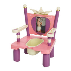 "Levels of Discovery - Her Majesty's Throne Potty Chair - Crown backrest with special message: Her Majesty's Throne 4"" x 6"" photo frame to make it her own Removable plastic container easily lifts off seat for easy clean up Insert can be replaced with wooden lid for use as a regular chairCrown backrest. Photo frame. Removable plastic container. Wooden lid for use as chair. All products have instructions included for assembly"
