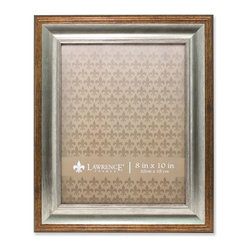 Lawrence Frames - 8x10 Tatum Silver and Gold Picture Frame - High quality burnished silver and burnished gold combination composite picture frame.  Beautifully finished picture frame that will be a great decorative addition to any room.  Comes with a two way easel for vertical or horizontal table top display, and hangers for vertical or horizontal wall mounting.  High quality black velvet backing.  Picture frame comes with glass to protect your photo, and is individually boxed.