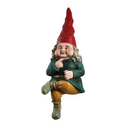 Toad Hollow ZELDA Gnome Garden Sitter Statue - The Gnomes Of Toad Hollow are a collection of garden gnomes that add whimsy and imagination to your garden or patio. This gnome, named Zelda, is a sitter gnome, and can be placed on tables, birdbaths, pond walls and window boxes. Made of cold cast resin, the gnome measures 10 inches tall from a seated position, 13 inches long altogether, 4 1/2 inches wide and 5 inches deep. She`s hand-painted, and shows great detail. She makes a wonderful gift for any gnome collector lover.