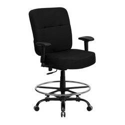 Flash Furniture - Flash Furniture Hercules Fabric Drafting Stool with Arms in Black - Flash Furniture - Drafting Chairs - WL735SYGBKADGG - This drafting chair has been tested to hold up to 400 lbs.! Not only will this chair hold the above average person but it is amazingly comfortable. Chair will appeal for users of all heights and weights because of its comfort and sturdy construction.