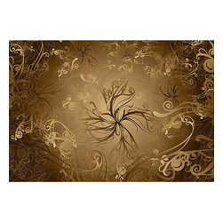 Gold Wall Mural - In every glowing hue of gold this wall mural spins a royal swirl of style for your space.