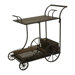 iMax - iMax CKI Mandalay Wine Cart - By designer Carolyn Kinder, this rich, dark woven PE is weather resistant and features two removable trays which can be used for serving.