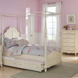 $499 Homelegance Cinderella Ecru Wood Girls Twin Canopy Poster Bed 1386TPP - The Cinderella Collection is your little girl's dream. The Victorian styling incorporates floral motif hardware, antique ecru finish and traditional carving details that will create the feeling of a room worth of a fairy tale princess. A canopy bed completes the fantasy of this whimsical collection. Turned posts reach for the heights and are topped with carved finials. The additional trundle provides the extra sleeping space for princesses visiting from other kingdoms. Also available in dark cherry finish.
