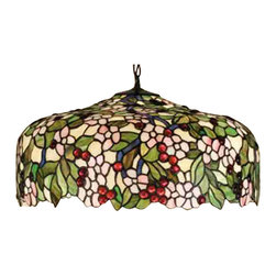 Meyda Tiffany - Meyda Tiffany Pendants Pendant Lighting Fixture - Shown in picture: Tiffany Cherrry Blossom Pendant; Cardinal Red Jewel Cherries Glisten Between Rosy Pink Flowers And Verdant Green Leaves In Our Version Of The Tiffany Studio's Cherry Blossom. The Cascading Blooms And Fruit Form The Undulating Edge Of This Colorful And Intricately Patterned Stained Glass Shade. This Lovely Pendant Is Suspended From A Mahogany Bronze Hand Finished Canopy And Chain.; Smallest height shown - expandable from 15-50.