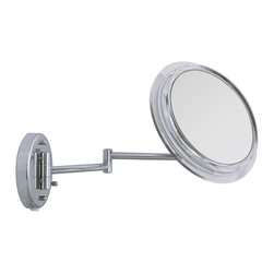 "Lamps Plus - Contemporary Surround Lighted Chrome Plug-In 7X Magnifying Mirror - The 7XSurround Light Wall Mirror features optical quality glass to ensure a nice clear reflection and the magnification lets you see up close details while still being able to view your entire face. The light is amplified across the entire mirror face for a shadow-free and glare-free reflection and recreates the effects of natural sunlight. Extends 14"" on a dual-jointed arm. The plug-in style lets you move this mirror from place to place with ease. Plug-in style wall mirror. Acrylic construction with chrome finish. 7X magnification. Pivoting head. Optical quality glass. Includes 100 watt fluorescent light. 12 3/4"" high. 11 1/2"" wide. Mirror glass is 7"" round. Extends 14"" from wall.  Plug-in style wall mirror.  Acrylic construction with chrome finish.  7X magnification.  Pivoting head.  Optical quality glass.  Includes 100 watt fluorescent light.  12 3/4"" high.  11 1/2"" wide.  Mirror glass is 7"" round.   Extends 14"" from wall."
