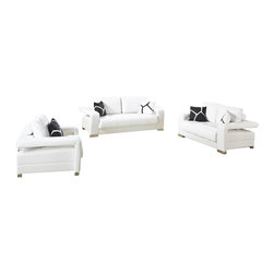 VIG Furniture - 2926 White Bonded Leather 3 Piece Sofa Set - The 2926 sofa set is a great addition for any living room that needs a touch of modern design. This sofa set comes upholstered in a beautiful white bonded leather. High density foam is placed within the cushions for added comfort. Each piece features a open arm design that adds to the overall look of the sofa set. A matching coffee table comes included. The sofa set includes a sofa, loveseat, chair, and coffee table only.