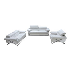 VIG Furniture - Linx White Top Grain Italian Leather 3 Piece Sofa Set With Adjustable Headrests - The Linx sofa set will be a great addition for any modern themed living room decor. This sofa set comes upholstered in a beautiful white top grain leather in the front where contact is minimal. Skillfully chosen match material is used on the back and sides where contact is minimal. High density foam is placed within the cushions for added comfort. Only solid wood products were used when crafting the frames making this sofa set very durable. Each piece features adjustable headrests for that extra touch of relaxation. The sofa set includes one sofa, loveseat, and chair only.