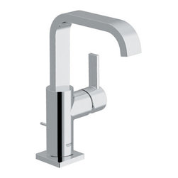 """Grohe - Grohe Allure Single Hole Bathroom Faucet w/ SilkMove Technology and Drain - Product Features:Faucet body constructed of solid brassCovered under Grohe's limited lifetime warrantyGrohe faucets are exclusively engineered in GermanyFinishes will resist corrosion and tarnishing through everyday use - finish covered under lifetime warrantyStainless steel braided flexible suppliesSingle handle operationADA compliant - complies with the standards set froth by the Americans with Disabilities Act for bathroom faucetsLow lead compliant - meeting federal and stat regulations for lead contentDesigned for use with standard U.S. plumbing connectionsProduct Technologies / Benefits:Starlight Finish: Continuously improving over the last 70 years Grohe�s unique plating process has been refined to produce and immaculate shiny surface that is recognized as one of the best surface finishes the world over. Grohe plates sub layers of copper and/or nickel to ensure that a completely non-porous, immaculate surface awaits the chrome layer. This deep, even layered chrome surface creates a luminous and mirror like sheen.SilkMove Cartridge: The rich and smooth handling of our single lever faucets conveys pure quality. As you change the temperature from hot to cold, one ceramic disc glides effortlessly across the other with absolute precision. These cartridges are manufactured in a high-tech process and feature discs made from a space-proven ceramic alloy. The SilkMove cartridge is yet another example of design and technology fusing to bring you an enhanced water experience.Product Specifications:Overall Height: 9-1/8"""" (measured from counter top to the highest part of the faucet)Spout Height: 7-3/4"""" (measured from the counter top to the spout outlet)Spout Reach: 5-1/2"""" (measured from the center of the faucet base to the center of the spout outlet)Installation Type: Single HoleNumber of Holes Required for Installation: 1Flow Rate: 2.2 GPM (gallons-per-minute)Maximum Deck Thickness: 1-1/4"""""""