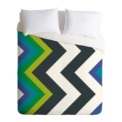 DENY Designs - DENY Designs Karen Harris Modernity Galaxy Cool Chevron Duvet Cover - Lightweigh - Turn your basic, boring down comforter into the super stylish focal point of your bedroom. Our Lightweight Duvet is made from an ultra soft, lightweight woven polyester, ivory-colored top with a 100% polyester, ivory-colored bottom. They include a hidden zipper with interior corner ties to secure your comforter. It is comfy, fade-resistant, machine washable and custom printed for each and every customer. If you're looking for a heavier duvet option, be sure to check out our Luxe Duvets!