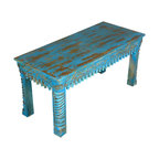 Sierra Living Concepts - Sky Blue Hand Carved Mango Wood Sofa Coffee Table - The bright blue color of the sky encourages us to relax and dream so it is a fantastic interior design choice for our ornate coffee table. This solid wood hand carved sofa table has lots of fun details like decorative framing designs and lace like pegs along the sides and rounded and carved half column legs.