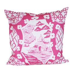 Canton Pillow, Pink - Printed Cotton, 10/90 Down Insert