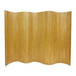 """Oriental Furniture - 6 ft. Tall Bamboo Wave Screen - Natural - A remarkably practical room divider or office partition, as well as a distinctive decorative accent. Hand-crafted from light-weight and extra strong kiln dried bamboo, in a flexible interlocking """"wave"""" style design. Bring the exceptional beauty and sustainability of fine finished bamboo to your home or office decor."""