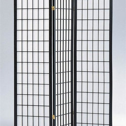 Asia Direct Home - 3-Panel Shoji Room Divider Screen in Black - Wooden frame. Thickness: 1 in.. Overall: 51 in. W x 70 in. H