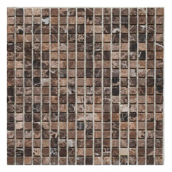 """Mission Stone Tile - 5/8"""" x 5/8"""" Marble Mosaic Tiles, Emperador Dark Marble, Tumbled - Sold per Square Foot"""