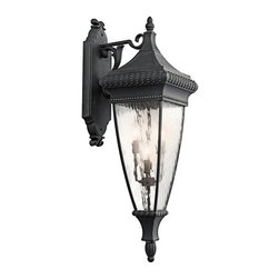 Kichler Lighting - Venetian Rain - Outdoor Wall Lantern 4Lt - Four Light Large Outdoor Wall Sconce from the beautiful Venetian Rain Collection.  With either black and gold finish or bronze finish, the body material is made of aluminum and rainy clear glass.