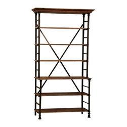 """Dovetail - Dovetail Portobello Baker Rack - Antiqued steel frame Reclaimed wood shelves and crown Adjustable shelves """"knockdown"""" construction."""