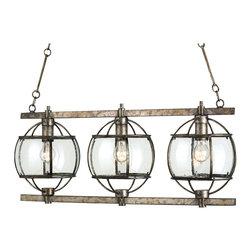 Kathy Kuo Home - Brompton Industrial Loft Bronze Iron Glass 3 Light Island Pendant - uq