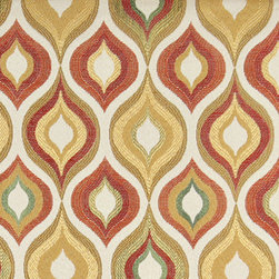 Gold, Red, Green and Orange, Bright Contemporary Upholstery Fabric By The Yard - This contemporary upholstery jacquard fabric is great for all indoor uses. This material is uniquely designed and durable. If you want your furniture to be vibrant, this is the perfect fabric!