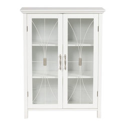 Elegant Home Fashions - Delaney Floor Storage Cabinet with 2 Doors - The Delaney Double Door Floor Cabinet in a white finish from Elegant Home Fashions offers storage with style for the bathroom.  Featuring an elegant crown molded top and adjustable shelf  helps make it easy to store items of different sizes. The tempered glass-paneled doors decorated with cathedral style wire, provides a looming view into the cabinet.  The cabinet features metal knobs for easy opening. This sturdy cabinet comes with assembly hardware.