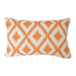 The Pillow Studio - Decorative Designer Lumbar Pillow in Robert Allen Orange Ikat with Ivory Piping - This lumbar pillow has such a great graphic punch of mango orange in an ikat pattern.