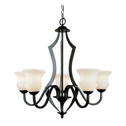 Trans Globe Lighting - 5 Light Chandelier - Sturdy 5 light chandelier with opal hourglass shades. Gun metal black finish for a terrific western look. Black finish Laser cut design