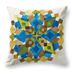 Frontgate - Trina Turk Kaleidoscope Multicolored Outdoor Pillow - 100% solution-dyed polyester fabric. Embroidered with polyester thread for long-lasting color. Finished with a clean knife edge. Reverses to solid back. High-density polyester fill. Fashion designer Trina Turk's love of mid-century design inspired the design of the Kaleidoscope outdoor pillow. Beautifully embroidered and crafted using premium all-weather materials, our Trina Turk Kaleidoscope Outdoor Pillow is sure to spruce up any outdoor setting with its bright aqua blue, sage green, and sand-colored embroidery. Made exclusively for Frontgate, this splendid graphic pillow will delight throughout the seasons.  .  .  .  .  . Sport clean with mild soap and water; air-dry only . Zipper closure . Imported.
