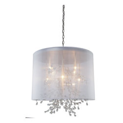Artcraft Lighting - Chrome 8 Light ChandelierSherwood Collection - Beautiful organza shades, with organically shapes branches that have glass jewels as buds at the tips.