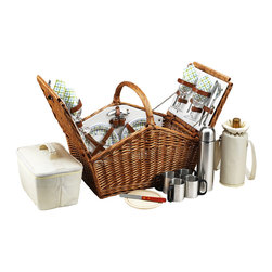 Picnic At Ascot - Huntsman Basket for Four with Coffee Service, Wicker W/Gazebo - The Huntsman Picnic Basket has a traditional style.  Hand crafted using full reed willow, this generously sized basket is made to last.  Easy to pack, carry, and enjoy, it includes quality components including ceramic plates and glass wine glasses.  Includes: (4) ceramic plates, glass wine glasses, stainless flatware, cotton napkins, double walled insulated coffee mugs(1) food cooler, insulated wine pouch, hardwood cutting board, spill proof salt & pepper shakers, wood handle cheese knife, stainless waiters corkscrew, and 24oz stainless steel  vacuum flask. Natural Willow with leather straps, closures, hinge covers.