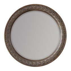 Hooker Furniture - Round Mirror - Let this gorgeous mirror, with its burnished frame, take center stage in your space. Hang it in your bedroom, entry or dining room to create a tranquil, peaceful mood.