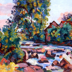 """Armand Guillaumin The Lock at Bouchardon - 16"""" x 20"""" Premium Archival Print - 16"""" x 20"""" Armand Guillaumin The Lock at Bouchardon premium archival print reproduced to meet museum quality standards. Our museum quality archival prints are produced using high-precision print technology for a more accurate reproduction printed on high quality, heavyweight matte presentation paper with fade-resistant, archival inks. Our progressive business model allows us to offer works of art to you at the best wholesale pricing, significantly less than art gallery prices, affordable to all. This line of artwork is produced with extra white border space (if you choose to have it framed, for your framer to work with to frame properly or utilize a larger mat and/or frame).  We present a comprehensive collection of exceptional art reproductions byArmand Guillaumin."""