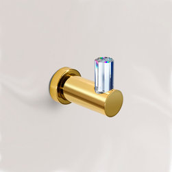 Windisch - Robe or Towel Hook with Swarovski Crystal - Contemporary style coat hook with 100% STRASS Swarovski crystal on top. Available in 2 finishes.