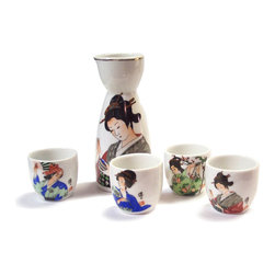 """China Furniture and Arts - Japanese Porcelain Sake Set - Sake, known as Japanese rice wine, is traditionally brought to table in this small sake bottle and served warm in these delicate small sake cups. Each cup features a different picture that is reproduced from ancient Japanese paintings. An exotic display for your dining table when an Asian meal is served. Presented in sets. Bottle is 2.5""""Dia. x 5.25""""H. Cups approximately 2""""Dia. x 2""""H each."""