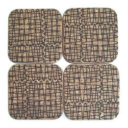 Gail Garcia Dinner-Ware - Square Coaster Set of 4, Paper Clip - It makes perfect sense to use cork — a renewable, sustainable resource that's lightweight, heat resistant and washable — for form and function in your home. Use these squares individually as drink coasters or combined as a trivet for a hot dish