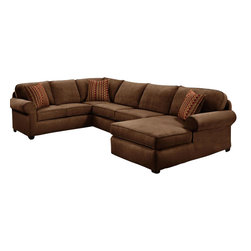Chelsea Home Furniture - Chelsea Home Vera 3-Piece Sectional in Flatsuede Chocolate - Vera 3-Piece sectional in Flat suede Chocolate belongs to the Chelsea Home Furniture collection