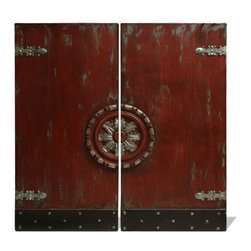 Koenig Collection - Dual Door Art Panel, Distressed Spanish Red And French Black With Accents - Dual Door Art Panel, Distressed Spanish Red and French Black with Accents