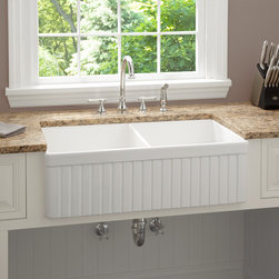 33-inch Baldwin Double Bowl Fireclay Farmhouse Kitchen Sink, Fluted Apron - The vertical lines on the front of this farmhouse sink caught my eye. They give it a real touch of class and remind me of beadboard, which everyone seems to love.