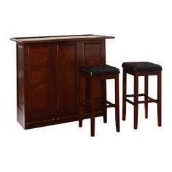 "Crosley Furniture - Crosley Mobile Folding Bar in Vintage Mahogany with 29"" Stool - Crosley Furniture - Home Bars - KF400035MA"