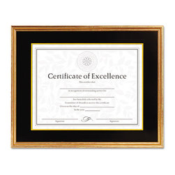 DAX - DAX Hardwood Document/Certificate Frame w/Mat, 11 x 14, Antiqued Gold Leaf - Display awards, certificates, diplomas or other important documents in this handsome solid-wood frame. Charcoal and gold-tone paper mat provide a touch of elegance. Plastic cover protects your displayed document. Frame may be mounted vertically or horizontally.