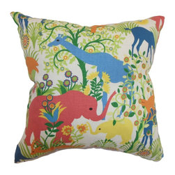 """The Pillow Collection - Caprivi Flora and Fauna Multi 18"""" x 18"""" - This square throw pillow features a lively and unique animal and flower motif. Add dimension and style to your interiors by flaunting this one-of-a-kind accent pillow. You can mix in other patterns like ikats, geometric, toiles and zigzags with this decor pillow. This down-filled pillow is made from a blend of 95% cotton and 5% linen fabric. Hidden zipper closure for easy cover removal.  Knife edge finish on all four sides.  Reversible pillow with the same fabric on the back side.  Spot cleaning suggested."""