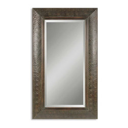 Uttermost - Guenevere Copper Mirror - You won't believe what a difference the embossed copper panel frame makes in an otherwise simple mirror. Details pop when the distressed mahogany finish is washed in a light green sage. Prop it against a wall in your living space and watch the show begin.