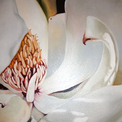 """Magnolia Flower 2, Original Oil Painting on Canvas - Original oil painting on canvas.Painted in soft, """"liquid"""", realistic style. One of two complimentary paintings. Professionally framed in white wood lacquered frame. Frame is 1 1/4 """" deep, and 1.3/4 """" wide. Painting is clear coated with satin oil base varnish. Colors are vibrant, realistic, predominantly  white, gray, aqua, green, brown, magenta,black. This artwork can fit in a formal, or contemporary setting."""