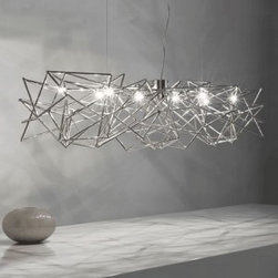 """Terzani - Etoile Chandelier - Product description:   The EtoileChandelier, was designed by Christian Lava for Terzani. The Etoile, s intricate nickel rods simulates constellations on a clear dark night. The blubs are places strategically to create a starry night, thattwinkles when looking at the Etoile at different angles. The Etoile will portray a heavenly glow in any room you would choose to use it in. ETL Listed                                Manufacturer:                            Terzani                                                            Designer:                            Christian Lava                                                Made in:                            Italy                                                Dimensions:                             Height: 7.9"""" (20 cm) X Width: 7.9"""" (20 cm) X Length: 51.2"""" (130 cm) XOverall Height:39.4"""" (100 cm)                                                Light bulb::                            8 X 20W G4 Xenon BiPin - T3                                                Material:                                                                                                                        Metal"""