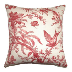 Pillow Collection - The Pillow Collection Xandrea Toile Pillow - Claret Multicolor - P18-42039-CLARE - Shop for Pillows from Hayneedle.com! Let nature descend on your room bringing the sweet song of spring with The Pillow Collection Xandrea Toile Pillow - Claret. Made of 100% high-quality cotton this elegant square pillow features a plush 95/5 feather/down insert for ultra softness. A classic Bordeaux red toile pattern adds a touch of French country charm to your home showing your love for traditional beauty.About The Pillow CollectionIdentical twin brothers Adam and Kyle started The Pillow Collection with a simple objective. They wanted to create an extensive selection of beautiful and affordable throw pillows. Their father is a renowned interior designer and they developed a deep appreciation of style from him. They hand select all fabrics to find the perfect cottons linens damasks and silks in a variety of colors patterns and designs. Standard features include hidden full-length zippers and luxurious high polyester fiber or down blended inserts. At The Pillow Collection they know that a throw pillow makes a room.