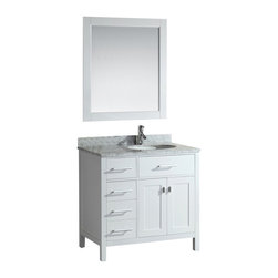 "Design Element Co. - 36 Inch Modern Single Sink Bathroom Vanity, White, 36 Inch Single Sink with Sink - The London 36"" Single Sink Vanity Cabinet Set is constructed with solid wood and provides a contemporary design perfect for any bathroom remodel. The ample storage in this free-standing vanity set includes one flip-down shelf, four fully functional drawers and one double door cabinet each accented with brushed nickel hardware. The cabinet itself is available in an espresso or white finish and the set is complete with a carrara white marble counter top and matching framed mirror. Dimensions: 36""W X 22""D X 34.5""H (Tolerance: +/- 1/4""); Counter Top: White Carrera Marble; Finish: White; Features: 2 Doors, 4 Drawers, 1 Flip Down Shelf; Hardware: Satin Nickel; Sink(s): 17"" X 13"" 7.5"" Undermount White Ceramic; Faucet: Pre-Drilled for Standard Single Hole (Not Included); Assembly: Light Assembly Required; Large cut out in back for plumbing; Included: Cabinet, Sink, Chrome Pop Up Drain, Mirror; Not Included: Faucet, Backsplash, Linen Cabinet (18""W X 18""D X 66""H)"