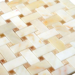 All Marble Tiles - Afyon Sugar - Honey Onyx Dot Basketweave Mosaic Tile - Afyon Sugar - Honey Onyx Dot Basketweave Mosaic Tile